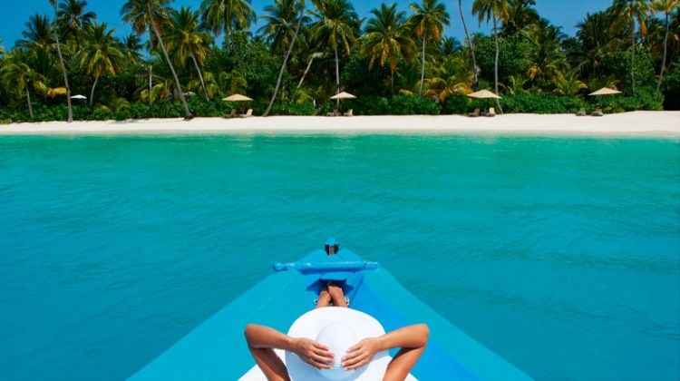 Relaxing on a boat in the Maldives